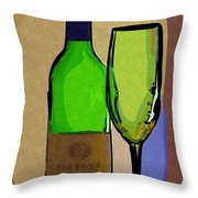 Wine And Glass Throw Pillow