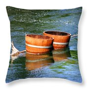 Wine Barrels Throw Pillow