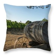 Wine Barrels At Vineyard Throw Pillow
