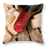 Wine Bottle And Corks Throw Pillow
