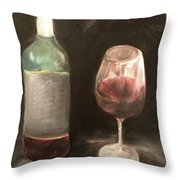 Wine Bottle And Glass Throw Pillow
