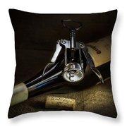 Wine Bottle, Corkscrew And Cork Throw Pillow