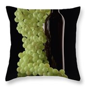Wine Bottle With Grapes Throw Pillow by Tom Mc Nemar