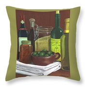 Wine Bottles And Jars Throw Pillow