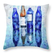 Wine Bottles Reflection  Throw Pillow