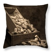 Wine Corks Still Life I Throw Pillow