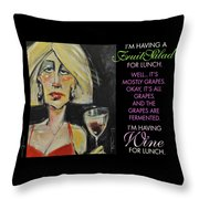 Wine For Lunch Poster Throw Pillow