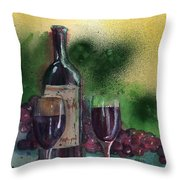 Wine For Two Throw Pillow by Sharon Mick