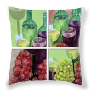 Wine From Grapes Collage Throw Pillow