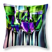 Wine Glasses With Colorful Drinks  Throw Pillow