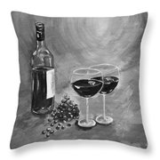 Wine On My Canvas - Black And White - Wine For Two Throw Pillow