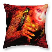 Wine Woman And Fall Colors Throw Pillow