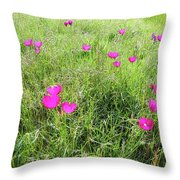 Winecup Flowers Throw Pillow