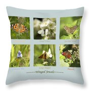 Winged Jewels Throw Pillow