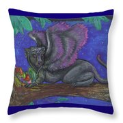 Winged Panther Kitten Cub Throw Pillow