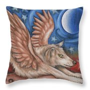 Winged Wolf In Downward Dog Yoga Pose Throw Pillow