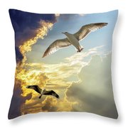 Wings Against The Storm Throw Pillow