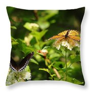 Wings And Blooms Throw Pillow