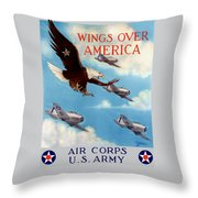 Wings Over America - Air Corps U.s. Army Throw Pillow