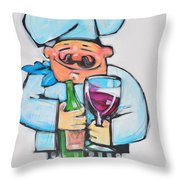 Wining Chef Throw Pillow