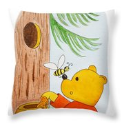 Winnie The Pooh And His Lunch Throw Pillow