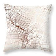 Winnipeg Street Map Colorful Copper Modern Minimalist Throw Pillow