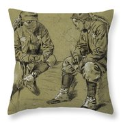 Winslow Homer 1836 - 1910 Study For The Brierwood Pipe Throw Pillow