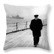 Winston Churchill At Sea Throw Pillow by War Is Hell Store