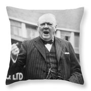 Winston Churchill Campaigning - 1945 Throw Pillow