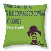 Winston Churchill Motivation Quote Throw Pillow