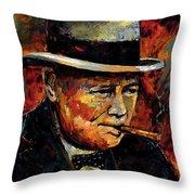 Winston Churchill Portrait Throw Pillow