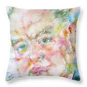 Winston Churchill - Watercolor Portrait.4 Throw Pillow