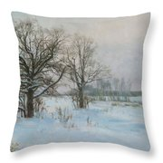 Winte Evening Throw Pillow