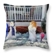 Winter - Christmas - Brother And Sister  Throw Pillow