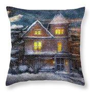 Winter - Clinton Nj - A Victorian Christmas  Throw Pillow
