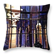 Winter Afternoon At The Cloisters 4 Throw Pillow