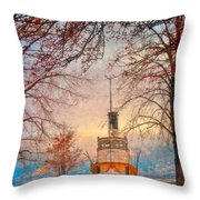 Winter And The Tug Boat Throw Pillow