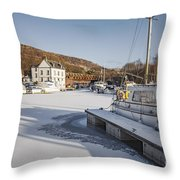 Winter At Bowling Harbour Throw Pillow