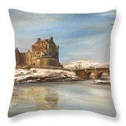 Winter At Eilean Donan Throw Pillow