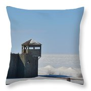 Winter At Fort Michilimackinac Throw Pillow