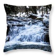 Winter At Mill Creek Falls No. 1 Throw Pillow