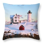 Winter At Nubble Throw Pillow by Eric Gendron