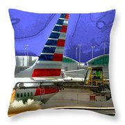 Winter At The Airport Throw Pillow