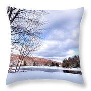 Winter At The Dam Throw Pillow