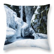 Winter At Virgin Creek Falls Throw Pillow