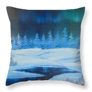 Winter Aurora Throw Pillow