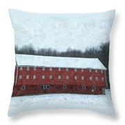 Winter Barn In Oil Throw Pillow