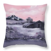Winter Barns Throw Pillow by Cynthia Adams