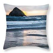 Winter Beach Stroll Throw Pillow