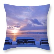 Winter Benches Throw Pillow